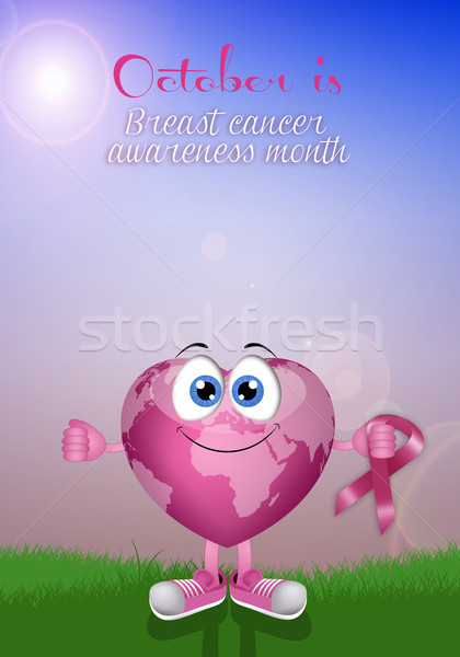 Pink earth with awareness ribbon Stock photo © sognolucido