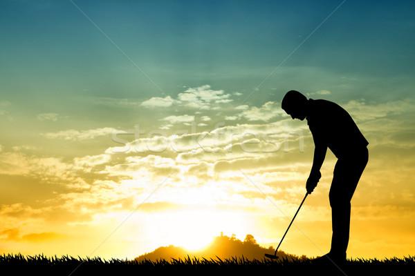 гольфист силуэта иллюстрация закат спорт весело Сток-фото © sognolucido