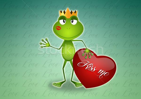 Kiss mnie żaba czerwony serca miłości Zdjęcia stock © sognolucido