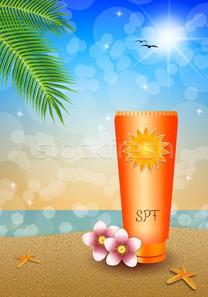 солнце лосьон пляж иллюстрация Солнцезащитный крем пейзаж Сток-фото © sognolucido