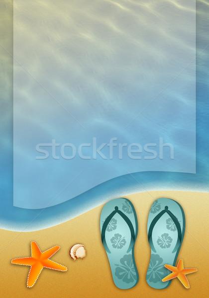 Flip-flops on the beach Stock photo © sognolucido