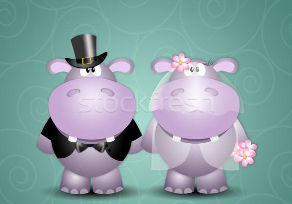 Illusztráció pár esküvő szeretet házas romantikus Stock fotó © sognolucido