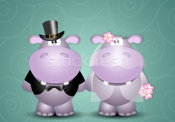 иллюстрация пару свадьба любви женат романтические Сток-фото © sognolucido