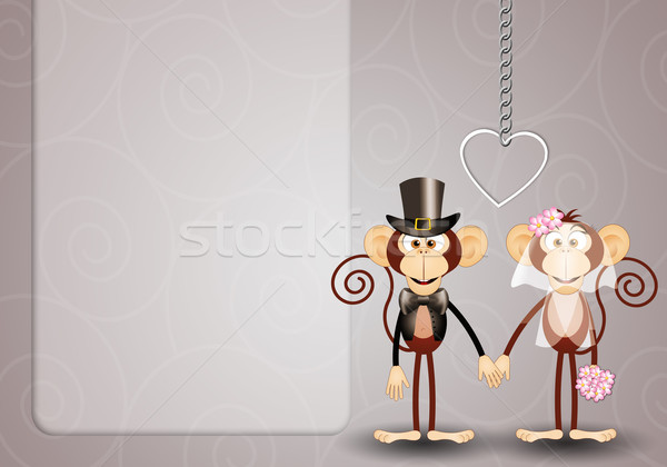 Monkeys just married Stock photo © sognolucido