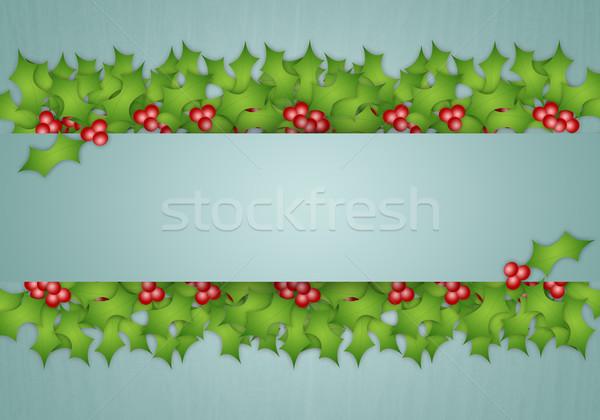 ストックフォト: 装飾 · 実例 · クリスマス · 緑 · 葉 · カード