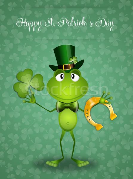 Boldog szent nap zöld béka tavasz Stock fotó © sognolucido