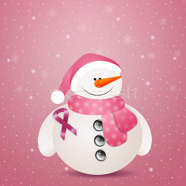 Pink snowman with pink ribbon Stock photo © sognolucido
