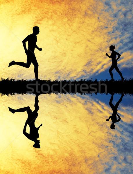 Lopen mensen zonsondergang illustratie reflectie snelheid Stockfoto © sognolucido