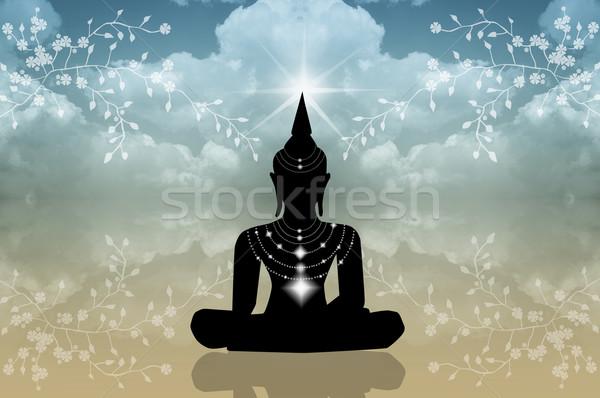 Будду силуэта иллюстрация небе цветы осуществлять Сток-фото © sognolucido