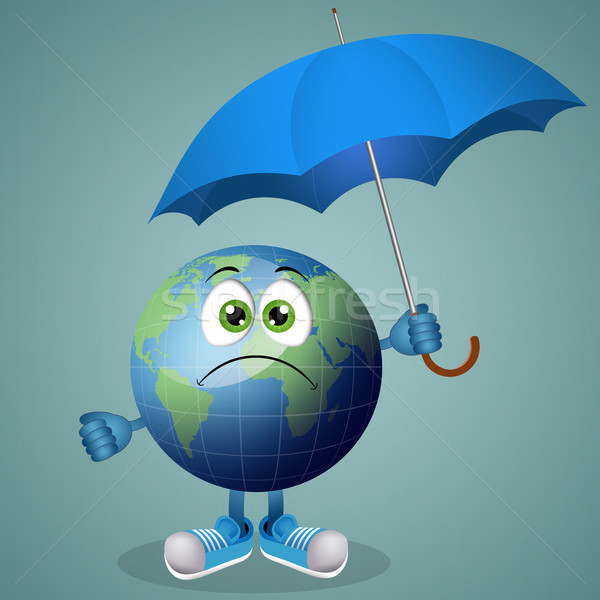 Sad earth with umbrella for rainy days Stock photo © sognolucido