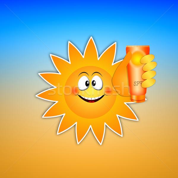 Sun with sun lotion Stock photo © sognolucido