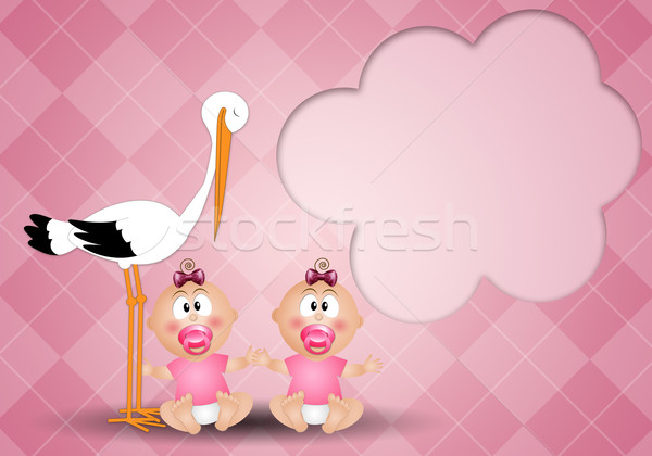Stork with twin girls Stock photo © sognolucido