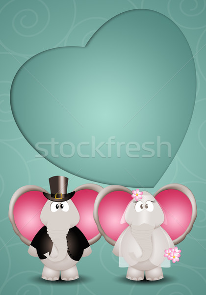 Pár elefántok illusztráció esküvő szeretet házas Stock fotó © sognolucido
