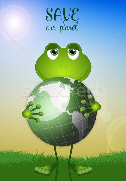 Funny frog with planet Stock photo © sognolucido