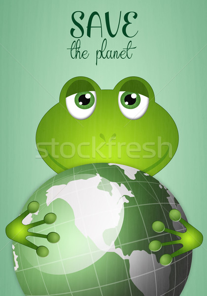Funny frog with green earth Stock photo © sognolucido