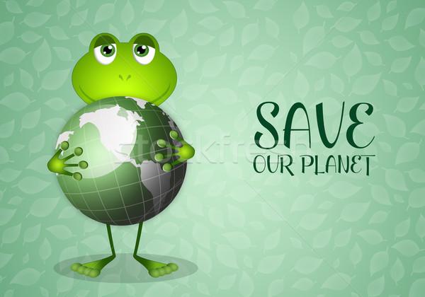 面白い カエル 緑 地球 実例 世界 ストックフォト © sognolucido