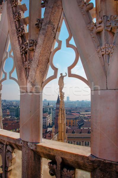 ミラノ 表示 大聖堂 市 壁 芸術 ストックフォト © sognolucido