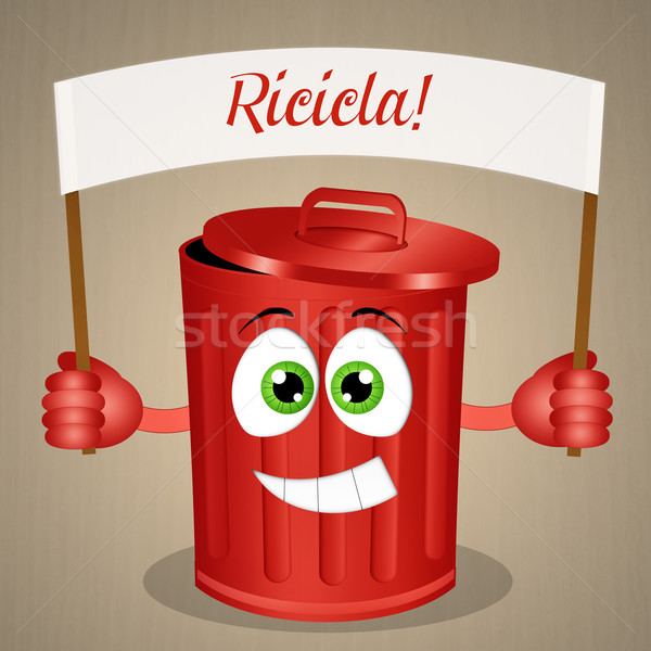 Funny red garbage bin for recycle Stock photo © sognolucido