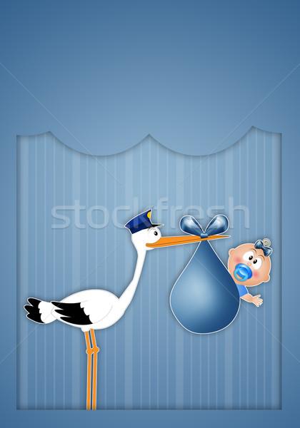 Gólya baba fiú születés újszülött gyermek Stock fotó © sognolucido