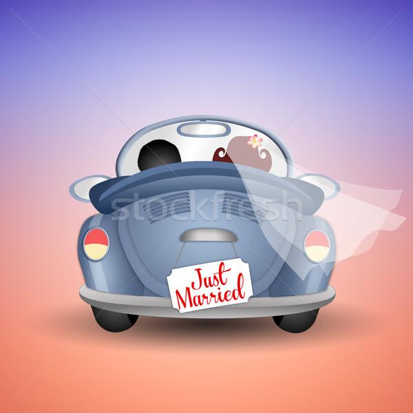 Friss házasok pár autó esküvő szeretet menyasszony Stock fotó © sognolucido