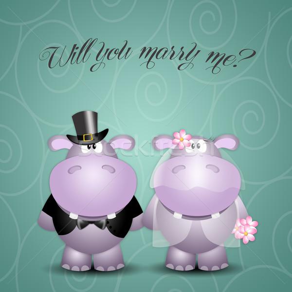 Nijlpaard huwelijk illustratie bruiloft liefde paar Stockfoto © sognolucido