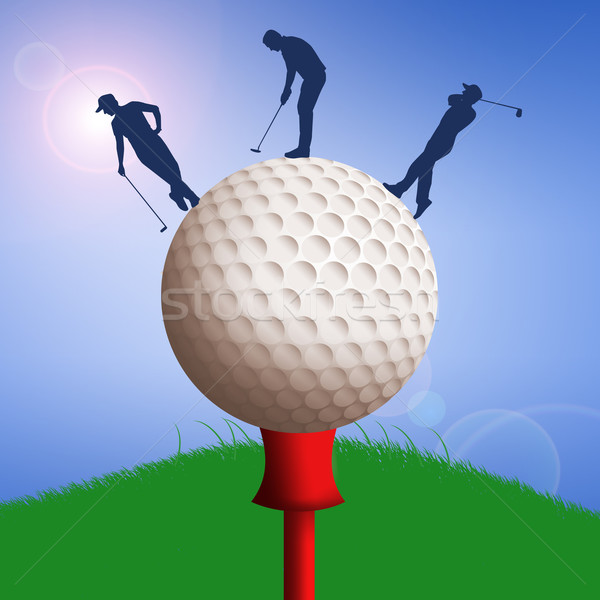 Golf ball with golfers silhouette  Stock photo © sognolucido