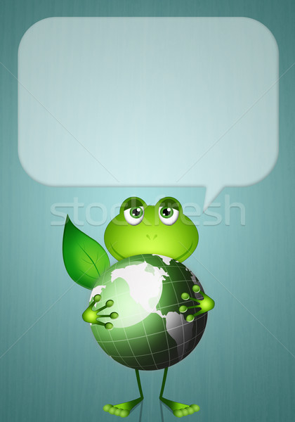 Frog with green earth Stock photo © sognolucido