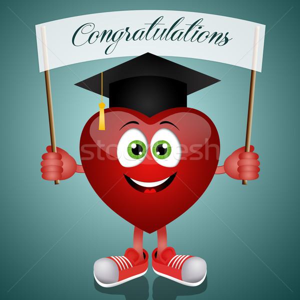смешные сердце выпускник Hat иллюстрация школы Сток-фото © sognolucido
