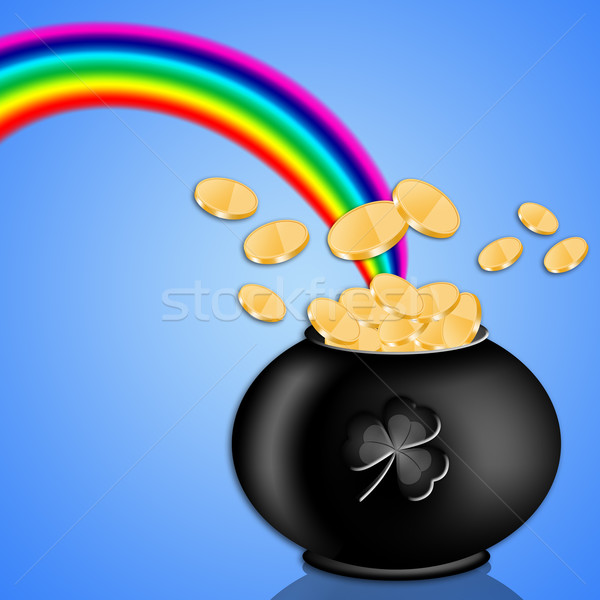 pot with money and rainbow in St. Patrick's Day Stock photo © sognolucido