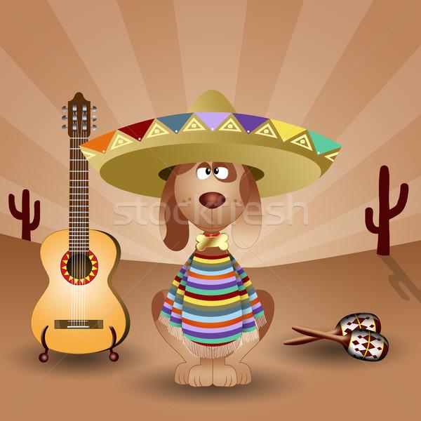 メキシコ料理 犬 ギター 旅行 休日 観光 ストックフォト © sognolucido