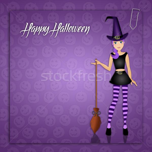 Boszorkány halloween nap illusztráció vicces vőlegény Stock fotó © sognolucido