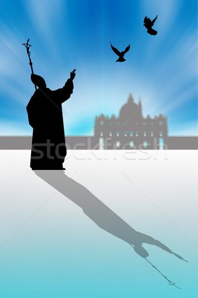 Pápa sziluett illusztráció Vatikán templom galamb Stock fotó © sognolucido