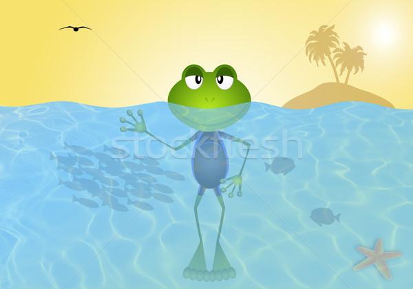 Grenouille mer été illustration soleil plongée Photo stock © sognolucido