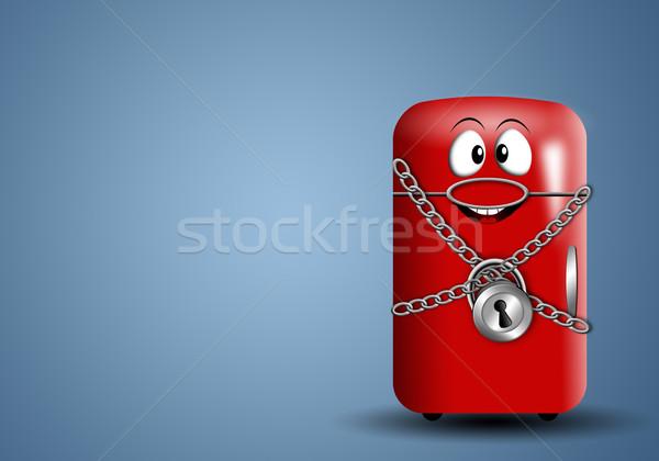 Diyet zaman örnek komik buzdolabı asma kilit Stok fotoğraf © sognolucido