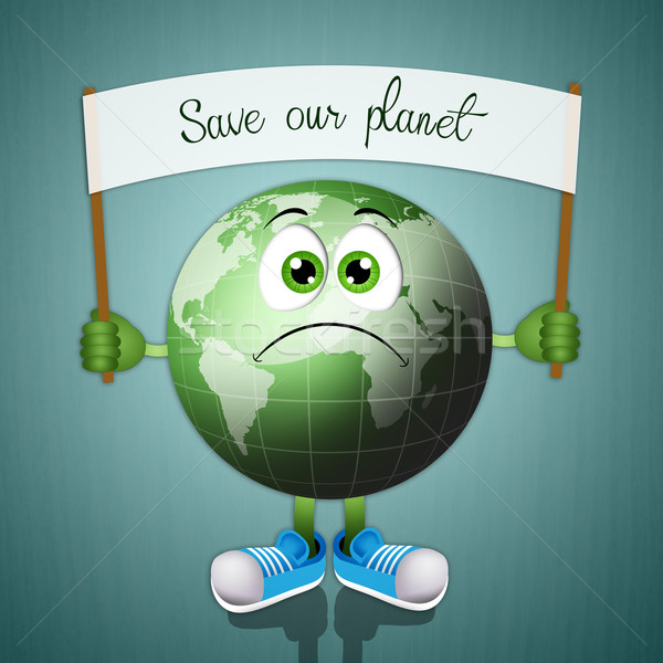 Funny green earth for salvation of the planet Stock photo © sognolucido