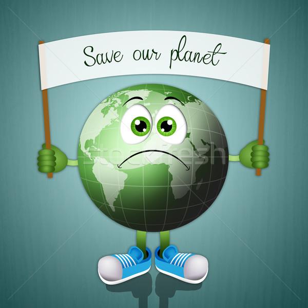 Funny zielone ziemi zbawienie planety świecie Zdjęcia stock © sognolucido