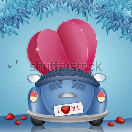 Friss házasok pár illusztráció autó esküvő szeretet Stock fotó © sognolucido