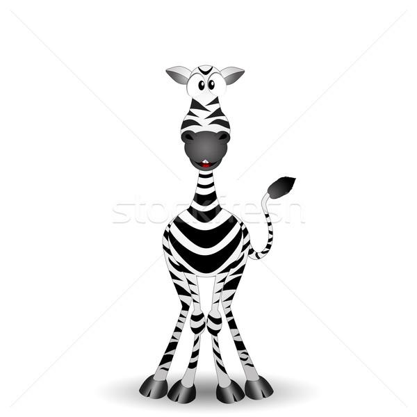 Vicces zebra illusztráció fekete afrikai bokor Stock fotó © sognolucido