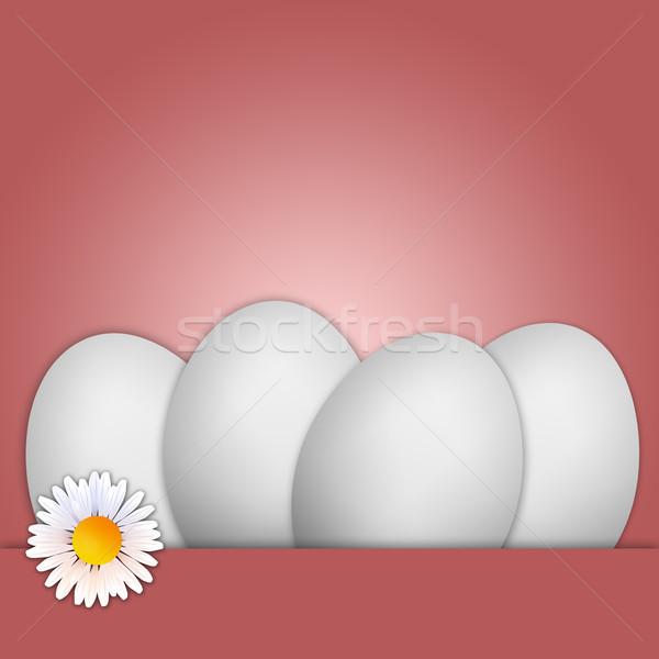 Biały jaj wesołych Świąt ilustracja stokrotki Wielkanoc Zdjęcia stock © sognolucido