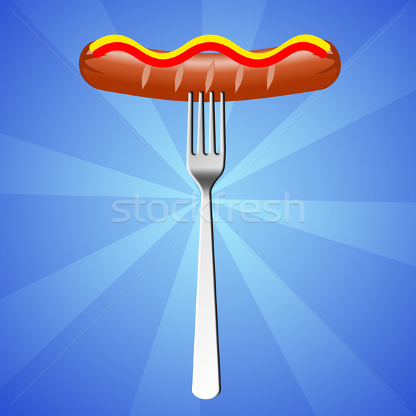 sausage with fork  Stock photo © sognolucido