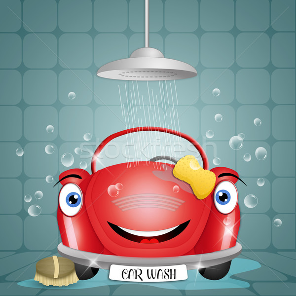 Lava-jato engraçado carro água serviço limpeza Foto stock © sognolucido