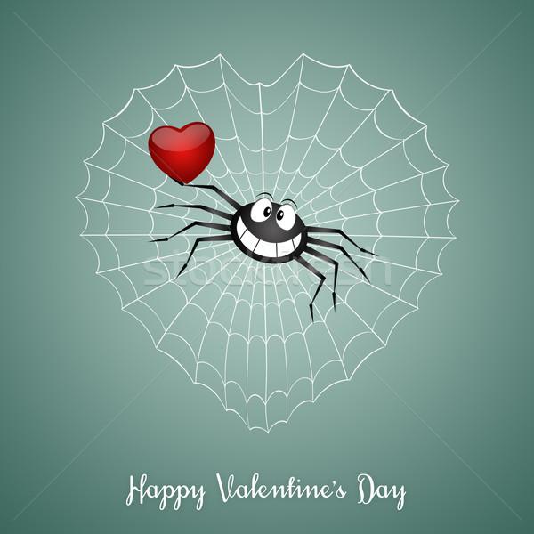 Heureux saint valentin illustration drôle araignée amour Photo stock © sognolucido