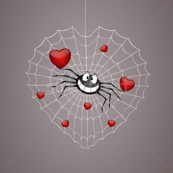 Pók szívek illusztráció vicces pókháló szív Stock fotó © sognolucido