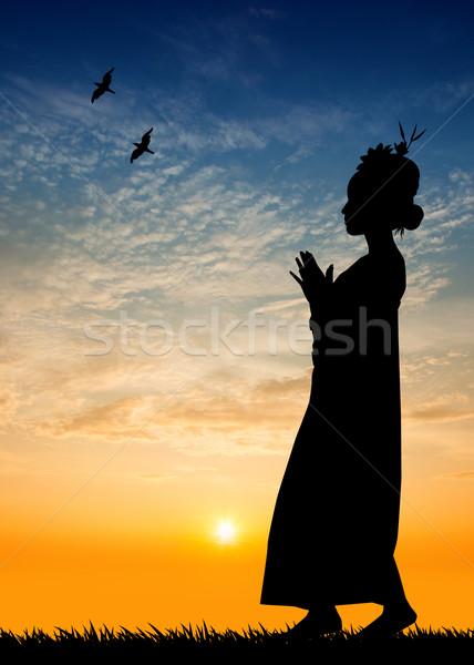 Thai dance at sunset  Stock photo © sognolucido