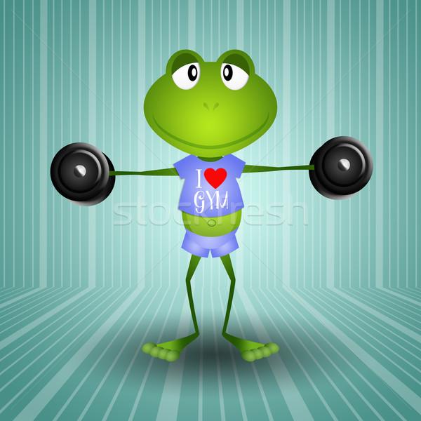 лягушка тяжелая атлетика иллюстрация спортзал спорт тело Сток-фото © sognolucido