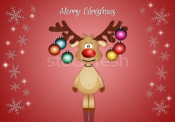 Komik ren geyiği Noel süslemeleri örnek sevimli Stok fotoğraf © sognolucido