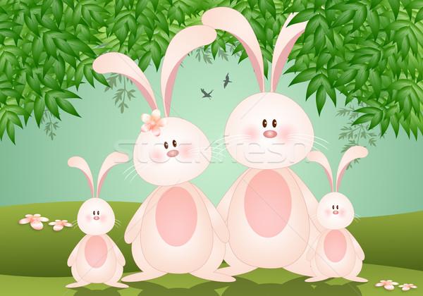 Aile tavşanlar Paskalya gün çiçek yaprak Stok fotoğraf © sognolucido