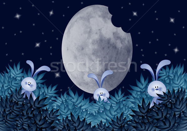 Funny rabbits eating moon Stock photo © sognolucido