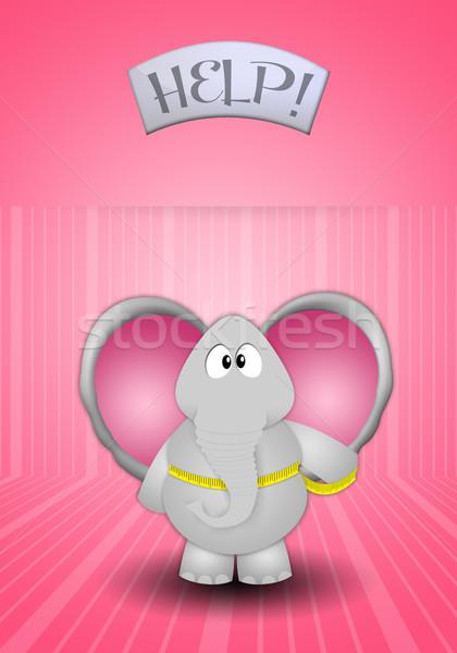 Diéta elefánt fogyókúra test egészség tornaterem Stock fotó © sognolucido