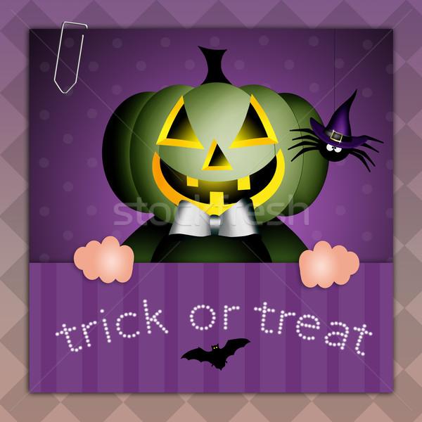 Szczęśliwy halloween sztuczka hat uroczystości Zdjęcia stock © sognolucido